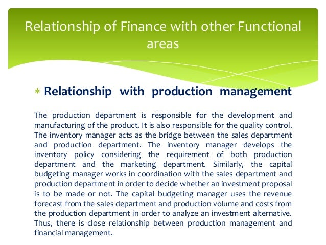 production management relationship with other functional areas Alexander nikov 2 information systems  management in a business and their relationship to each other  • span functional areas.