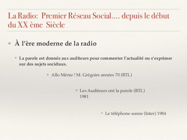 ❖ À l'ère moderne de la radio ❖ La parole est donnée aux auditeurs pour commenter l'actualité ou s'exprimer sur des sujets...