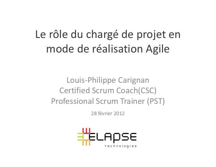 Le rôle du chargé de projet en  mode de réalisation Agile       Louis-Philippe Carignan     Certified Scrum Coach(CSC)   P...
