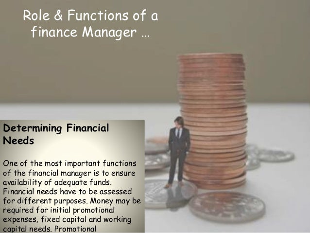 role of a financial manager essay For a company to exist, it must demonstrate exceptional management of finance this is where the chief financial officer or a cfo comes into picture.