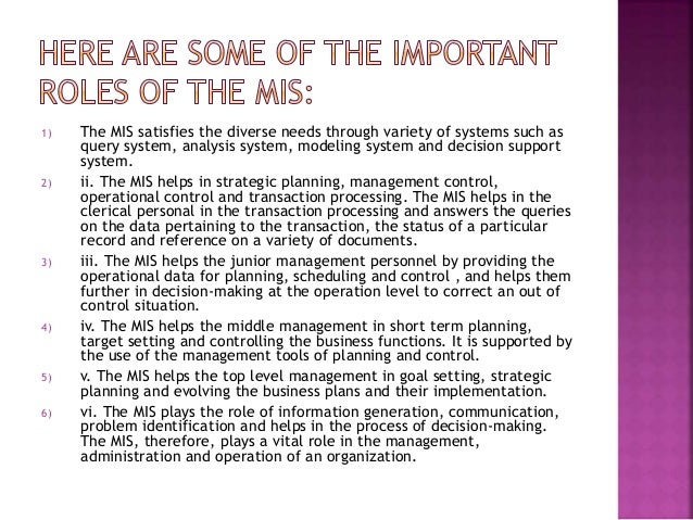 Role of information systems essay