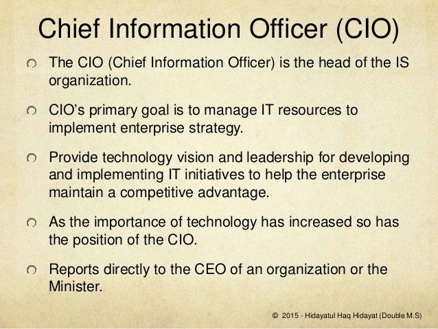Role of a cio hidayatul haq hidayat - Chief information technology officer ...