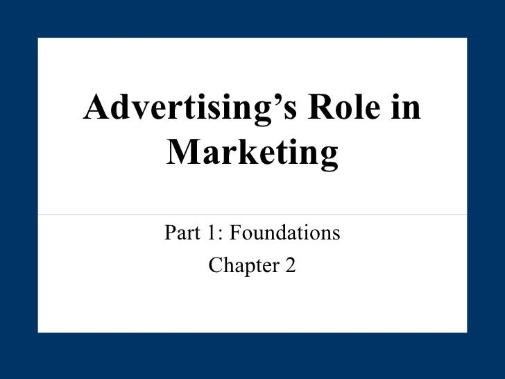 Advertising's Role in Marketing Part 1: Foundations Chapter 2