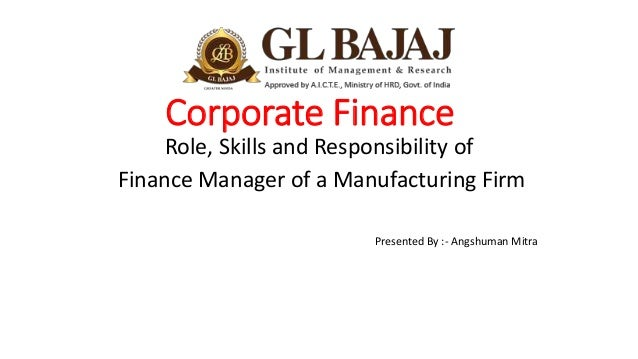role of a finance manager