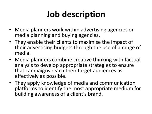 Media Planner Job Description. Media Planner Job Description In