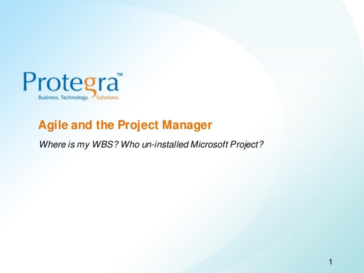 Agile and the Project Manager         Where is my WBS? Who un-installed Microsoft Project?©2008 Protegra Inc. All rights r...