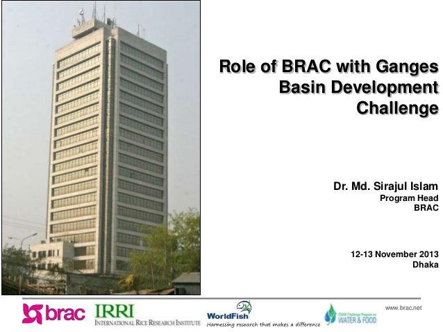 Role of BRAC with Ganges Basin Development Challenge  Dr. Md. Sirajul Islam Program Head BRAC  12-13 November 2013 Dhaka  ...