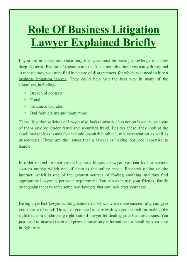 Role Of Business Litigation Lawyer Explained Briefly If You Are In A  Business Since Long Then