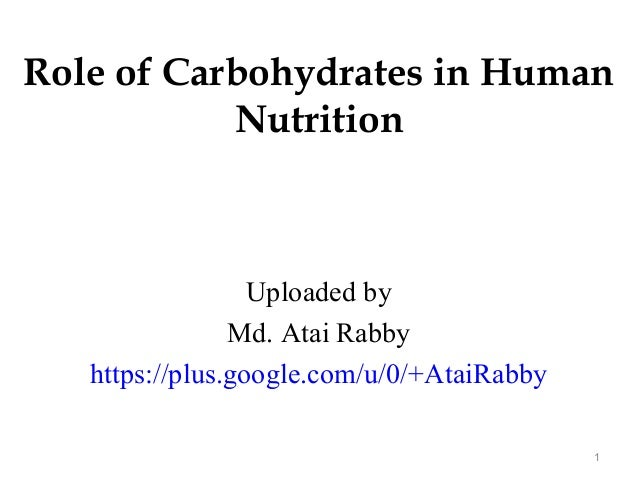 Role of Carbohydrates in Human Nutrition Uploaded by Md. Atai Rabby https://plus.google.com/u/0/+AtaiRabby 1