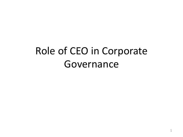 Role of CEO in Corporate Governance 1