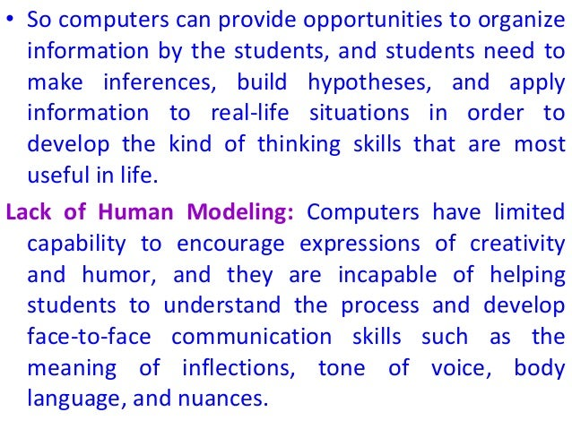 role of computers in education Free essay: role of ict in education nowadays the role of information and communication technology (ict),especially internet in the education sector plays an.