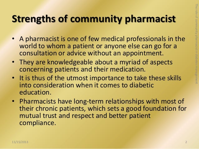 the role of pharmacists The pharmacist's role in promoting lifestyle changes is not recognized, and therefore coverage is lacking for prevention activities, which poses an area of grave concern for pharmacy and public health professionals alike.