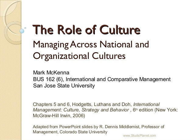 The Role of CultureThe Role of Culture Managing Across National and Organizational Cultures Chapters 5 and 6, Hodgetts, Lu...