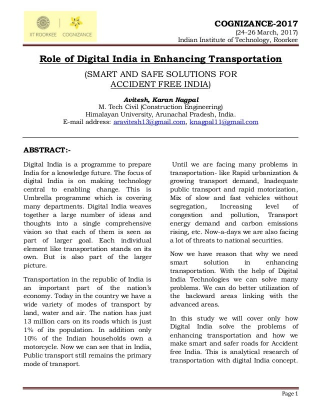 Role of digital india in enhancing transportation