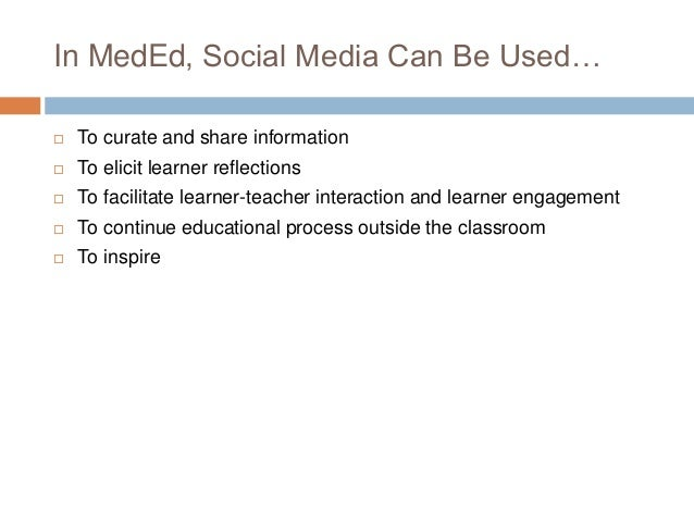 Examples of Social Media Use In Medical Education