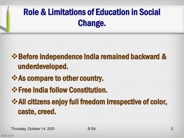 Role of education Slide 2