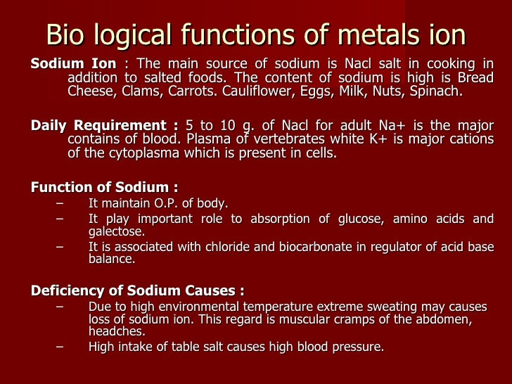 important ions in the human body and their sources
