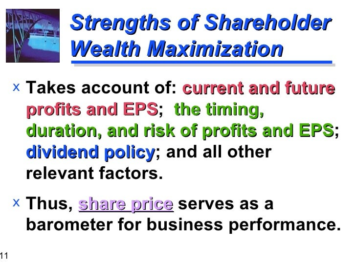 npv maximizing shareholders wealth Applying various capital budgeting methodologies the objective of a firm is to maximize shareholder wealth the net present value (npv) method is one of the useful methods that help.