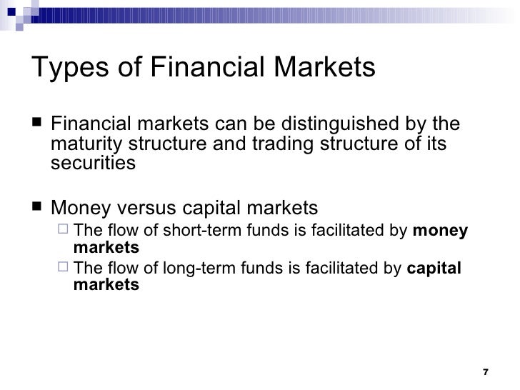 roles played by the financial market Financial markets create an open and regulated system for companies to get large amounts of capital this is done through the stock and bond markets this is done through the stock and bond markets markets also allow these businesses to offset risk.