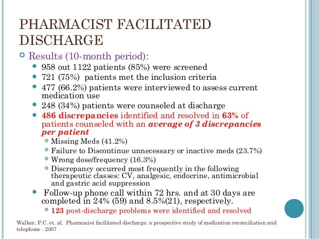 Role Of Hospital Pharmacists In Transitions Of Care