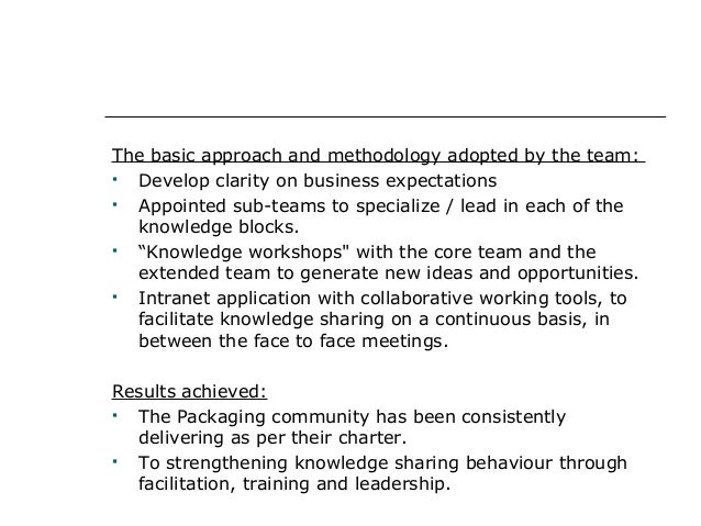 The basic approach and methodology adopted by the team:  Develop clarity on business expectations  Appointed sub-teams t...