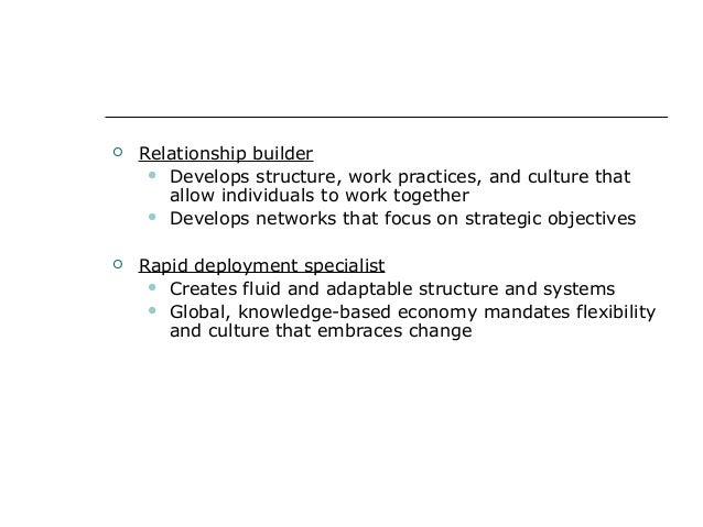  Relationship builder  Develops structure, work practices, and culture that allow individuals to work together  Develop...