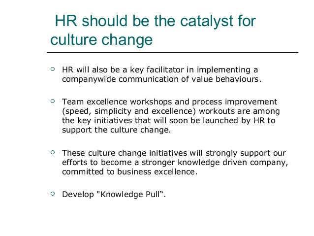 HR should be the catalyst for culture change  HR will also be a key facilitator in implementing a companywide communicati...