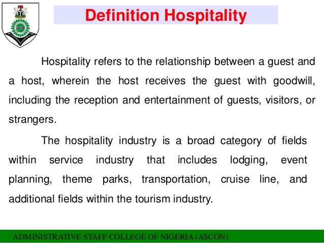 types of hospitality services