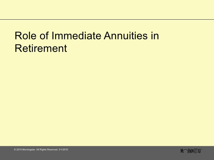 Role of Immediate Annuities in Retirement