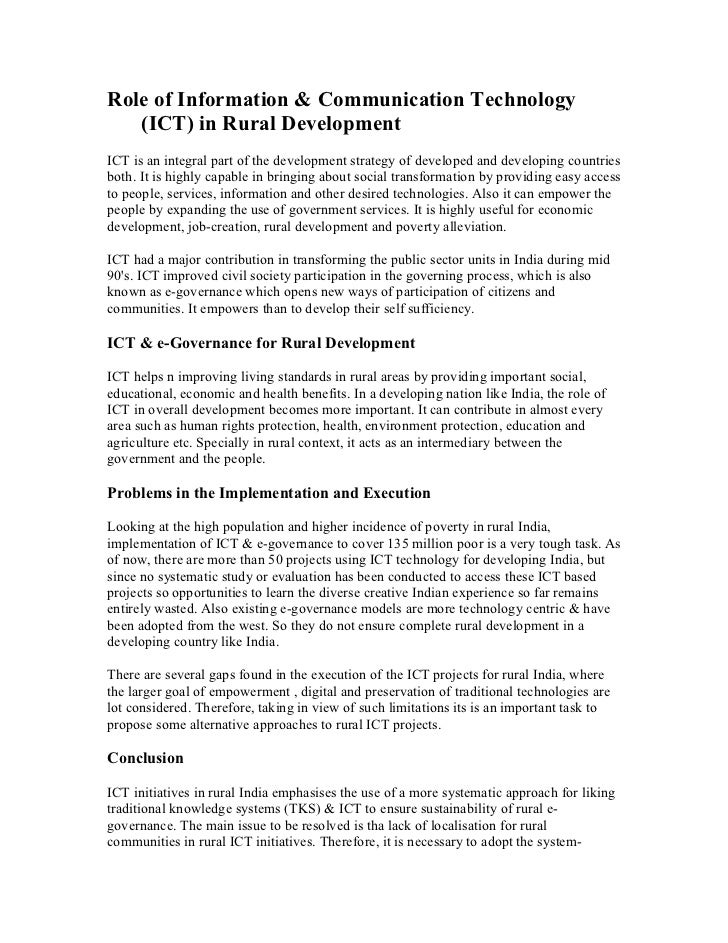 Role of technology in national development essay