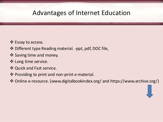 roll of internet in education Rapid development of the internet enables to introduce learning in virtual distance formsas it is everyone's responsibility for his/her education, we can expect that the one who wants to.