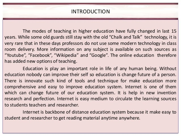 The Internet and Education