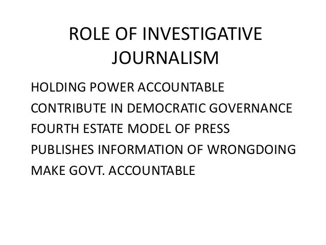 Role of journalism in a democracy