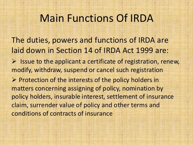 role and functions of irda pdf free