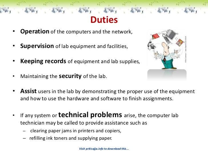 Technician Duties | Resume CV Cover Letter