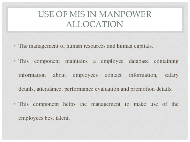 Role Of Management Information Systems In Manpower Allocation