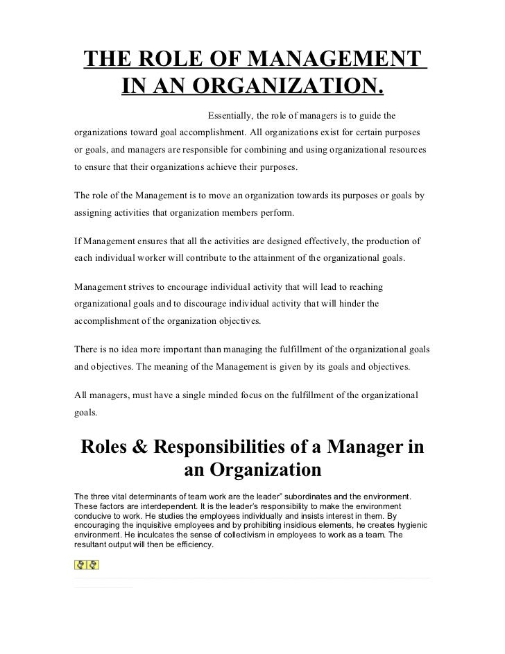 Describe the role of management in an organization