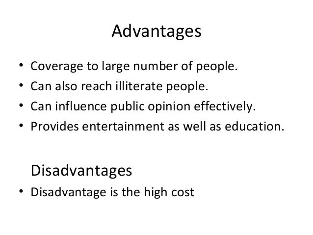 mass media advantages and disadvantages in wikipedia