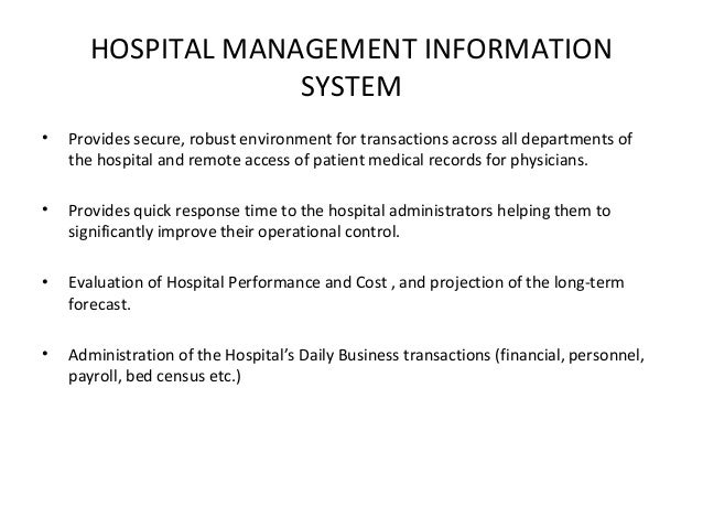 Hospital MIS Report System