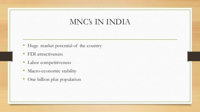 Role of Multinational Corporations in the Indian Economy