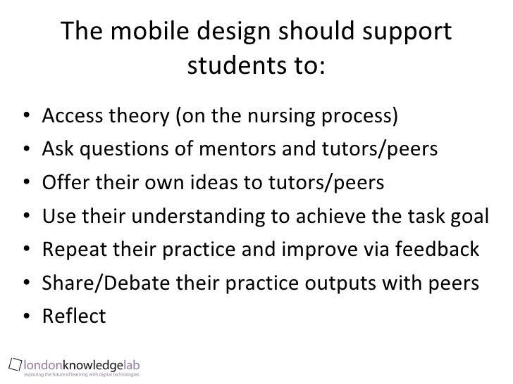 The mobile design should support students to: <ul><li>Access theory (on the nursing process) </li></ul><ul><li>Ask questio...