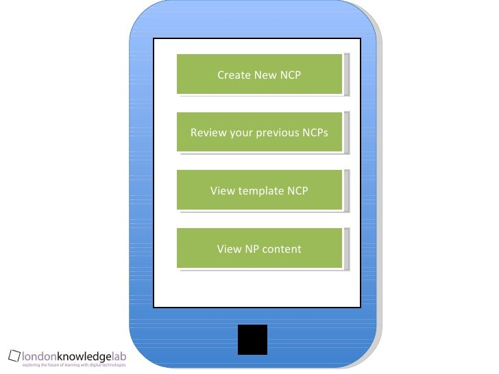 Create New NCP Review your previous NCPs View template NCP View NP content