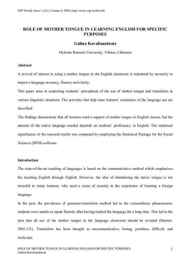 ESP World, Issue 1 (22), Volume 8, 2009, http://www.esp-world.info    ROLE OF MOTHER TONGUE IN LEARNING ENGLISH FOR SPECIF...