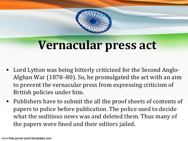 vernacular press act was promulgated in