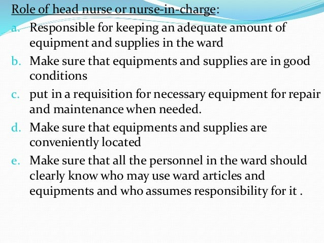 Role of nursing personnel in material management