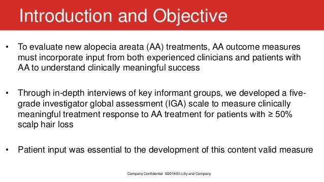 The Role of Patients in the Development of the Alopecia Areata Investigator Global Assessment (AA-IGA™), a Clinician-Reported Measure Evaluating Clinically Meaningful Success in Clinical Trials Slide 2