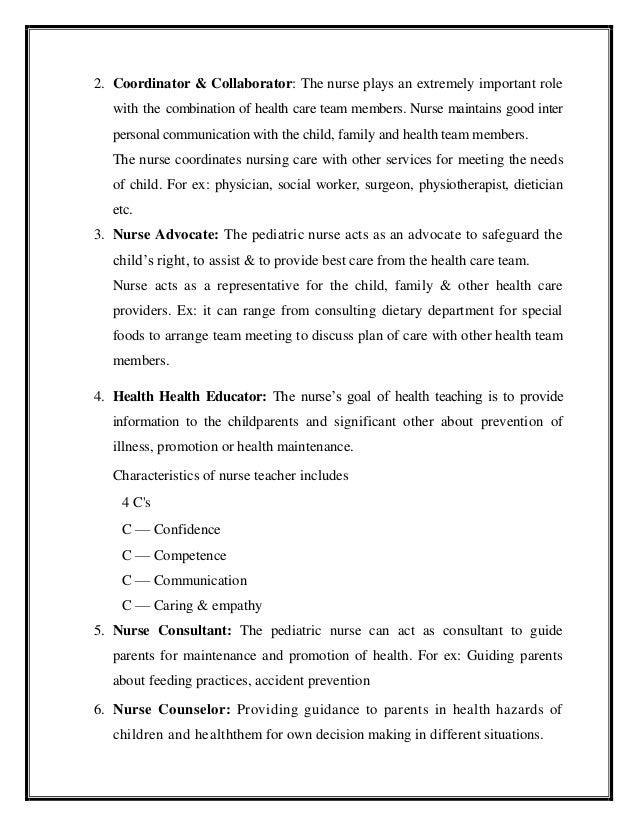 Role of pediatric nurse in child care