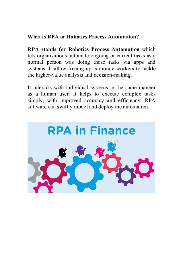 Role Of Robotic Process Automation In Finance Sector And