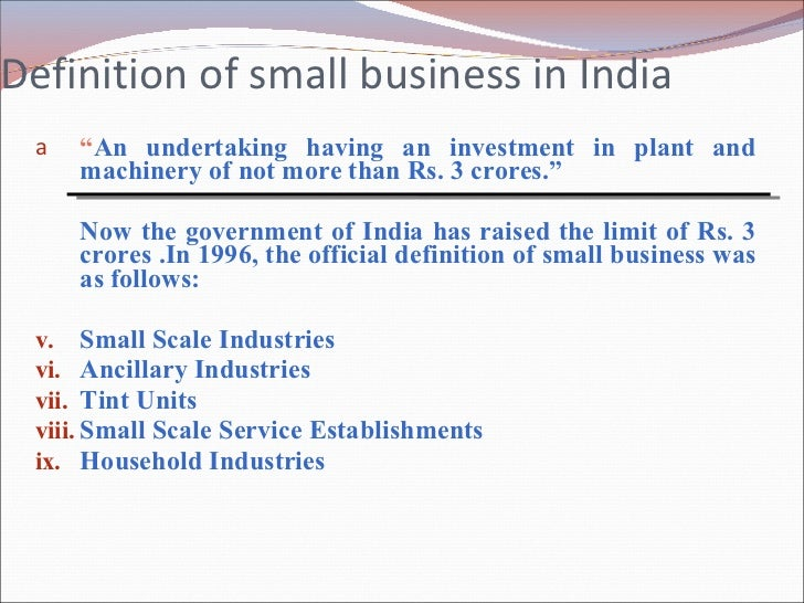 Role Of Small Bussiness In Indian 2007 Sandhya