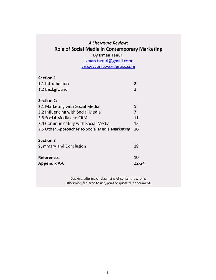 Role of Social Media in Contemporary Marketing                                                                            ...